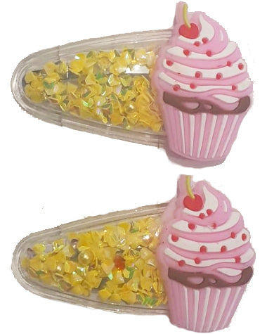 Cup Cake Sparkle Pink Hair Clip x2 - Roses & Rhinos