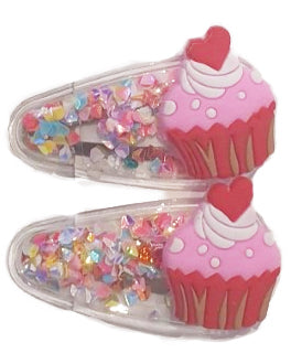 Cup Cake Sparkle Red Hair Clip x2 - Roses & Rhinos