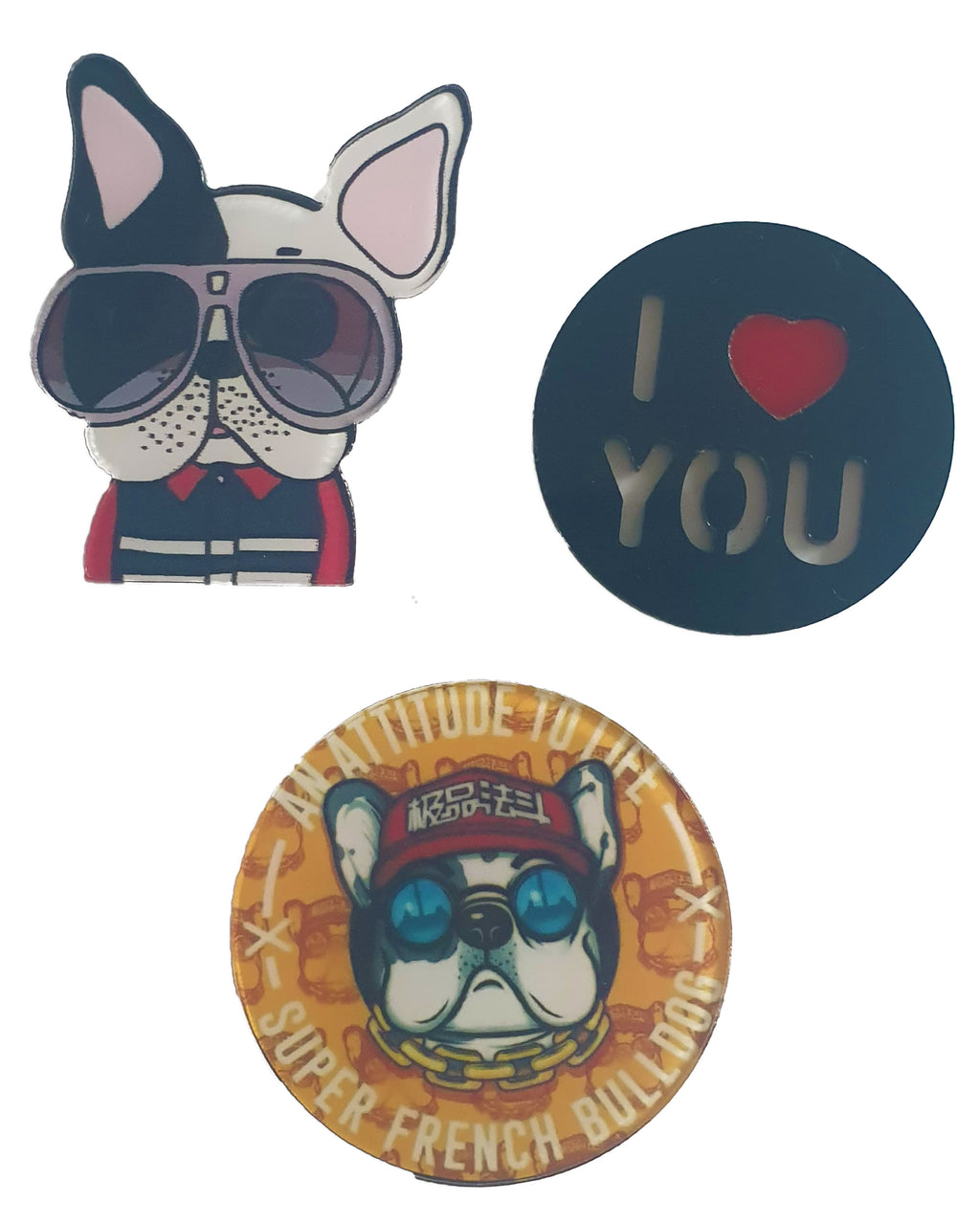 Dog ILU x 3 Pin - Roses & Rhinos