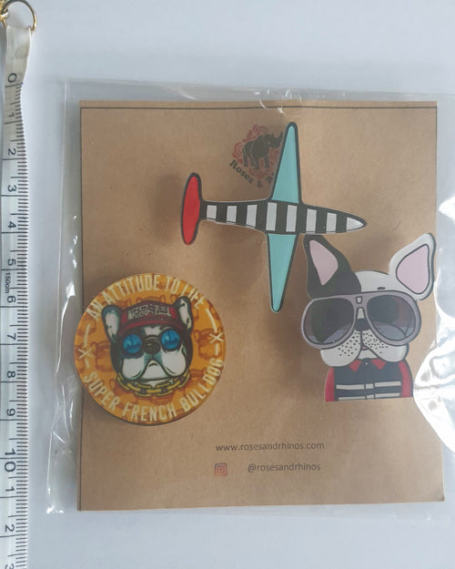 Dog and Plane x 3 Pin - Roses & Rhinos