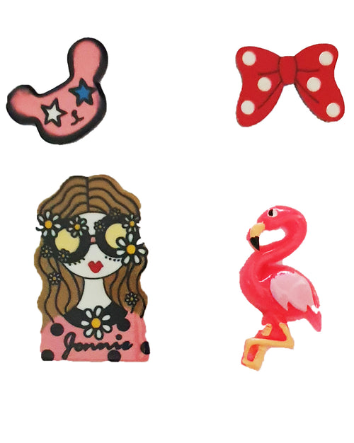 Flamingo Girl x 4 Pin