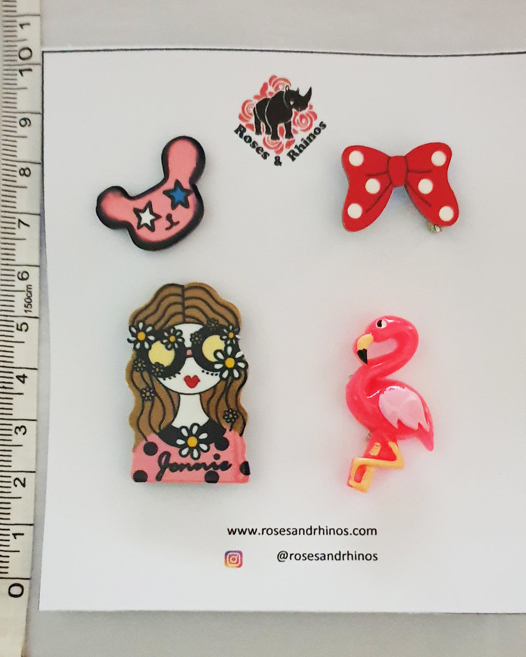Flamingo Girl x 4 Pin - Roses & Rhinos