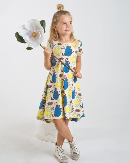 Forest Print Swing Dress - Roses & Rhinos