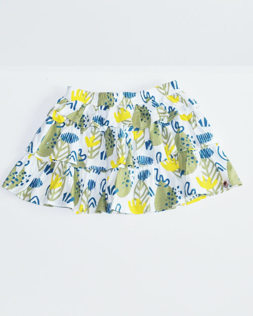 Forest Print Ruffle SKirt