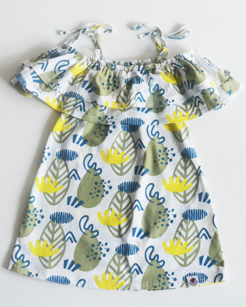 Forest Print Ruffle Dress - Roses & Rhinos