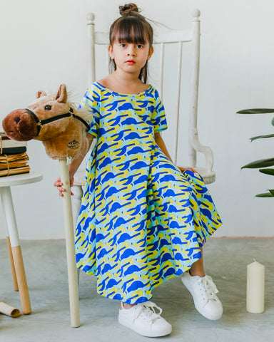 Scallop Print Ruffle Dress