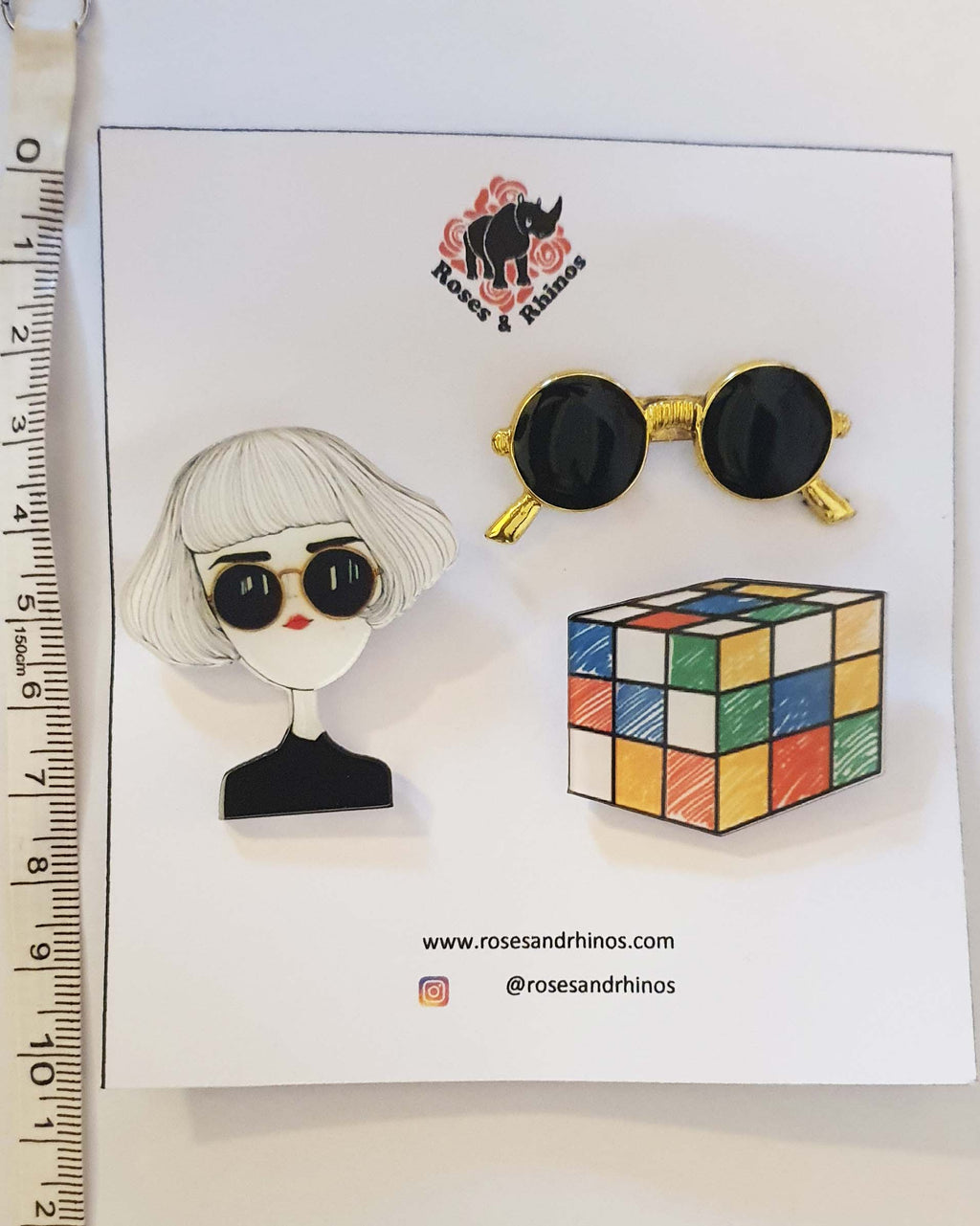 Girl RUbix Cube x 3 Pin