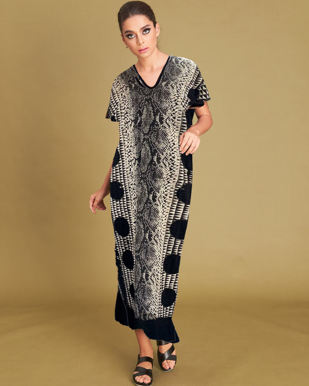 Women Gypsy Snake Straight Midi Dress - Roses & Rhinos