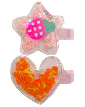 Heart Star Sparkle Hair Clip x2 - Roses & Rhinos
