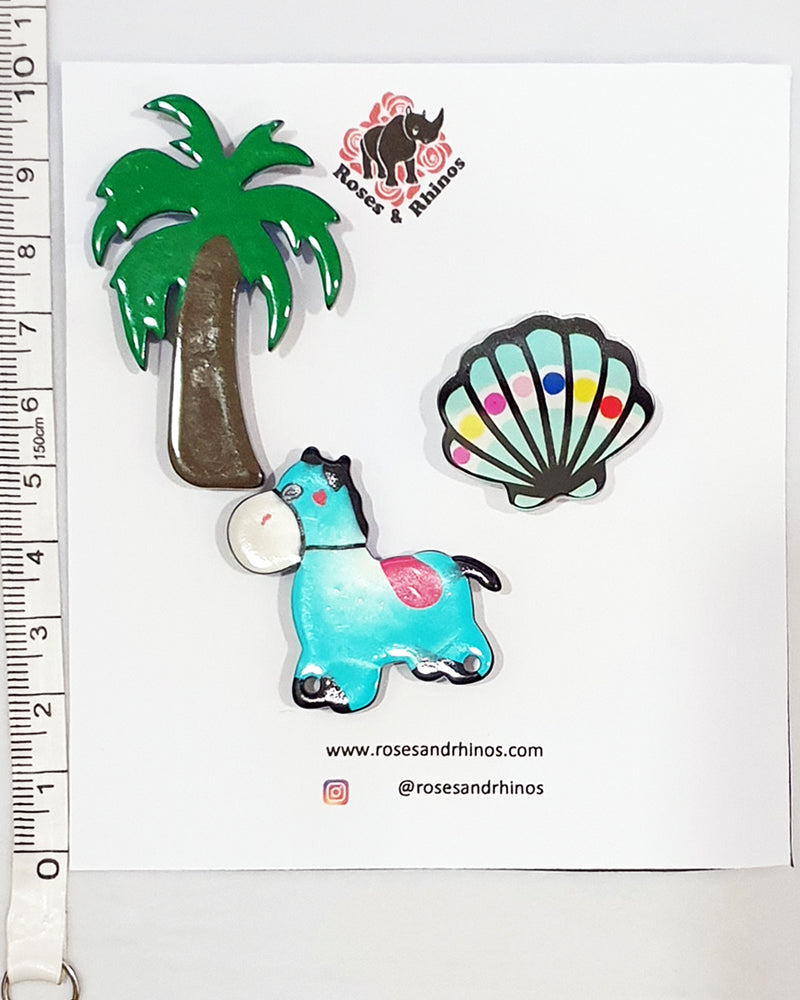 Horse and Shell x 3 Pin - Roses & Rhinos