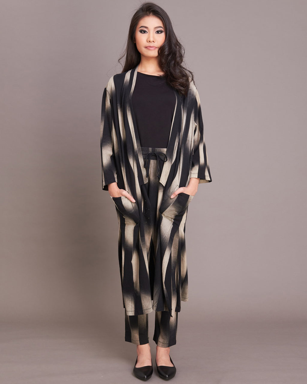 Women  Ikat Long Jacket - Roses & Rhinos