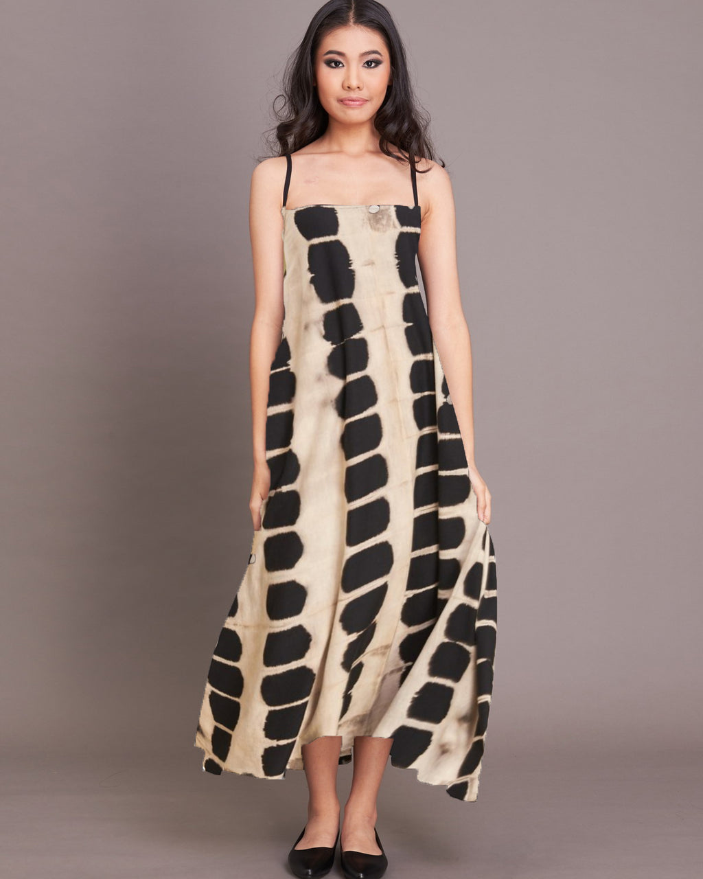 Womens Ngara Cream Spot Strappy Midi Dress - Roses & Rhinos