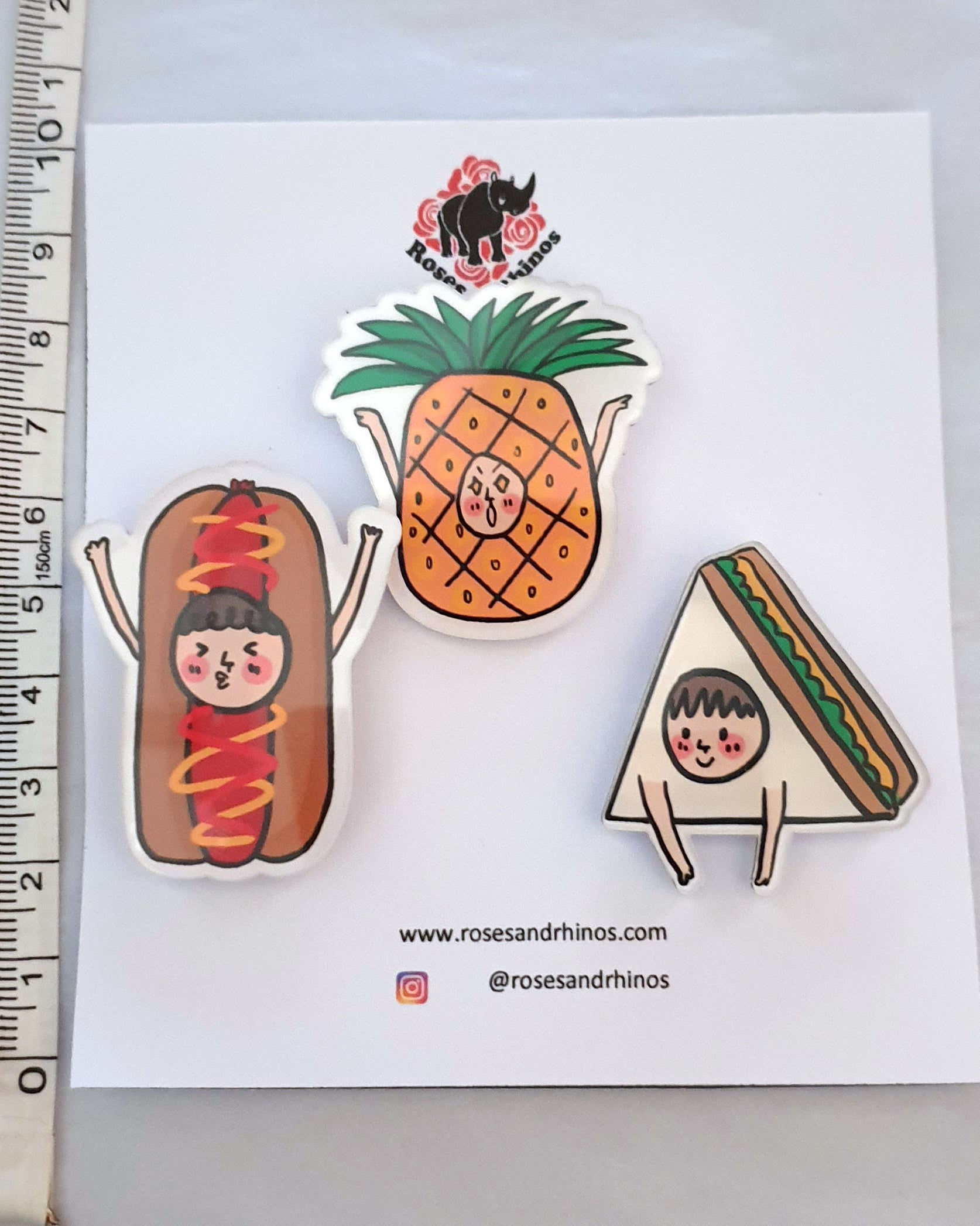Pineapple Face Food x 3 Pin