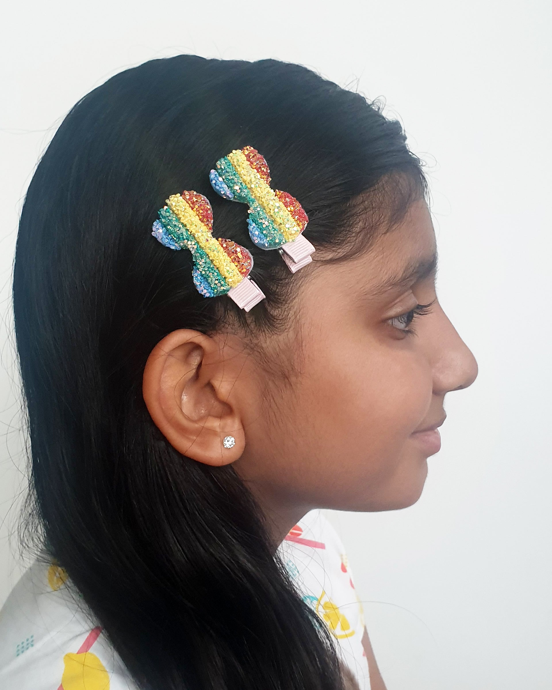 Rainbow Bow Glitter Hair Clip x2