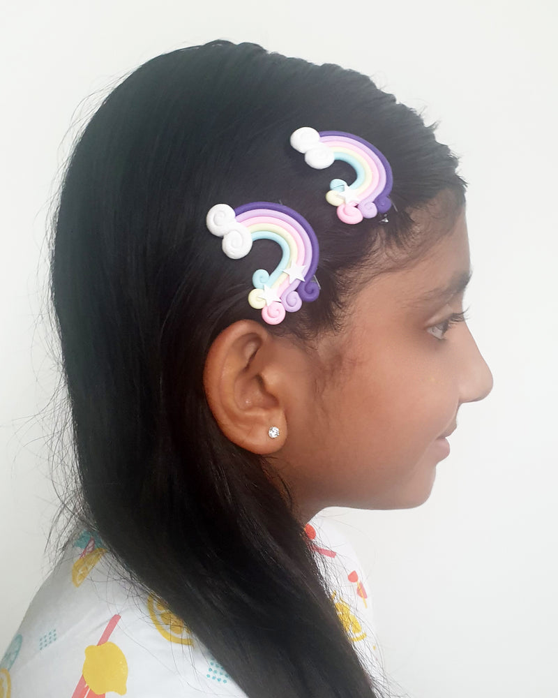 Rainbow Purple Hair Clip x2 - Roses & Rhinos
