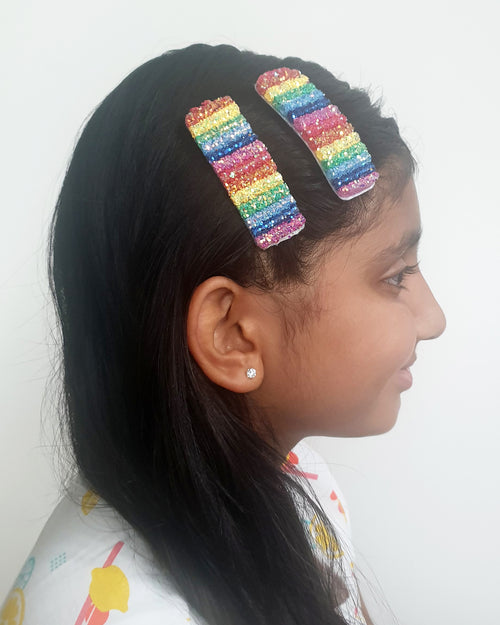 Rainbow Rectangle Glitter Hair Clip x2 - Roses & Rhinos