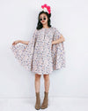 Women Sara Peach Flora Cape Dress - Roses & Rhinos