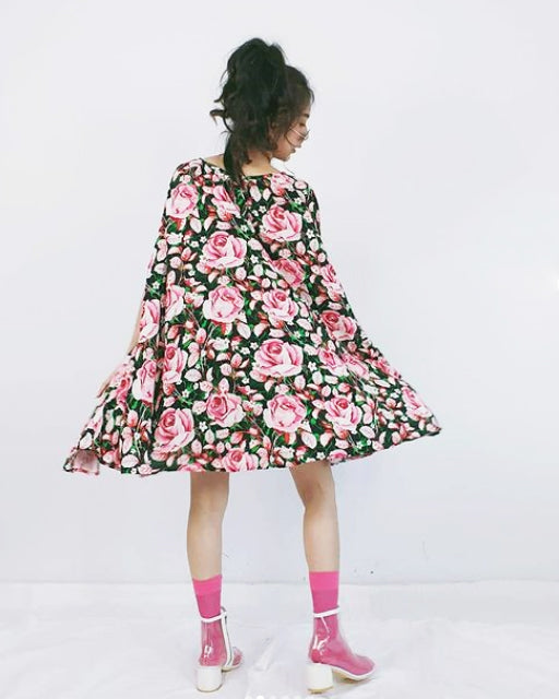 Women Sara Black Flora Cape Dress - Roses & Rhinos