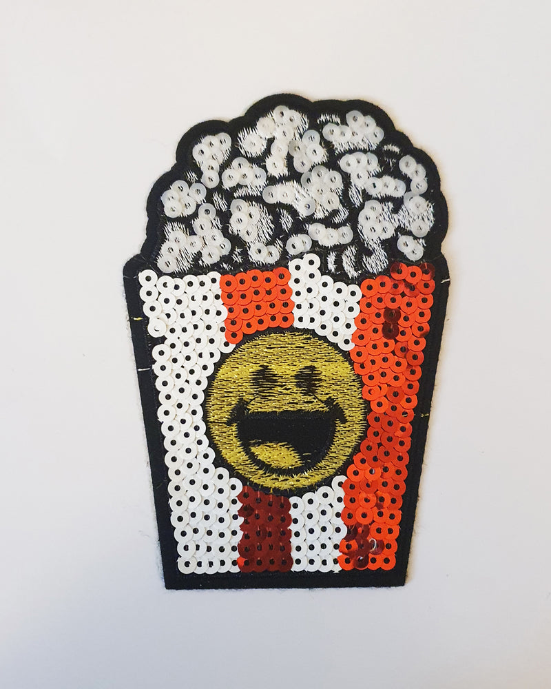Sequin Popcorn Iron On Patch - Roses & Rhinos