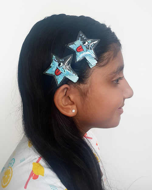 Smiley Blue Star Sparkle Hair Clip x2 - Roses & Rhinos