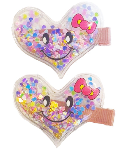 Smiley Heart Hair Clip Pink x2 - Roses & Rhinos
