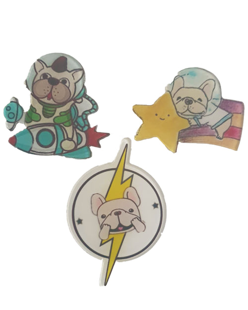 Space Dog x 3 Pin - Roses & Rhinos