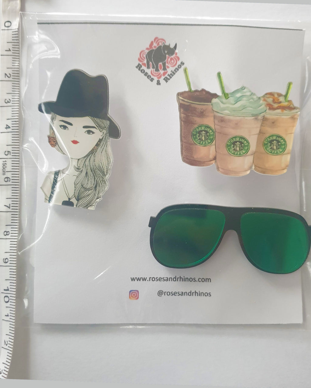 Starbucks Face x 3 Pin - Roses & Rhinos