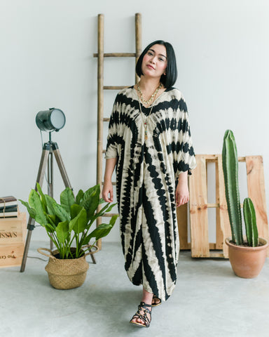 Women's Black Circle Maxi Kaftan