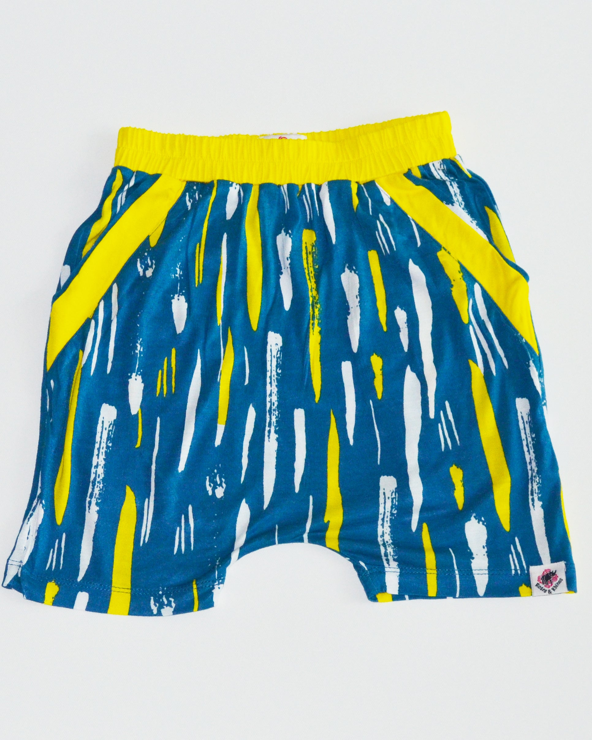 Splash Print Drop Crotch Shorts - Roses & Rhinos