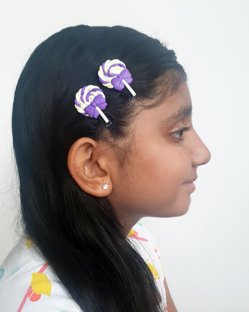 Swirl Lolly Purple Hair Clip x2 - Roses & Rhinos
