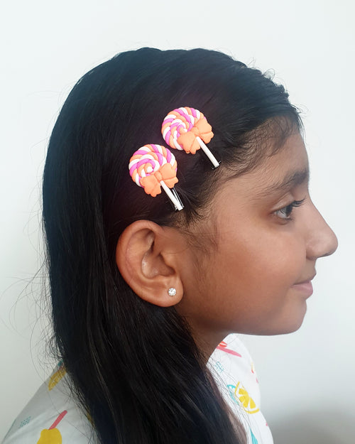 Swirl Lolly Orange Hair Clip x2 - Roses & Rhinos