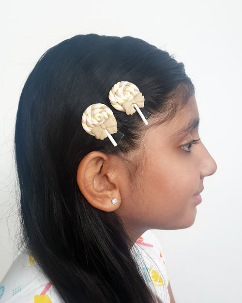 Swirl Lolly Olive Hair Clip x2 - Roses & Rhinos