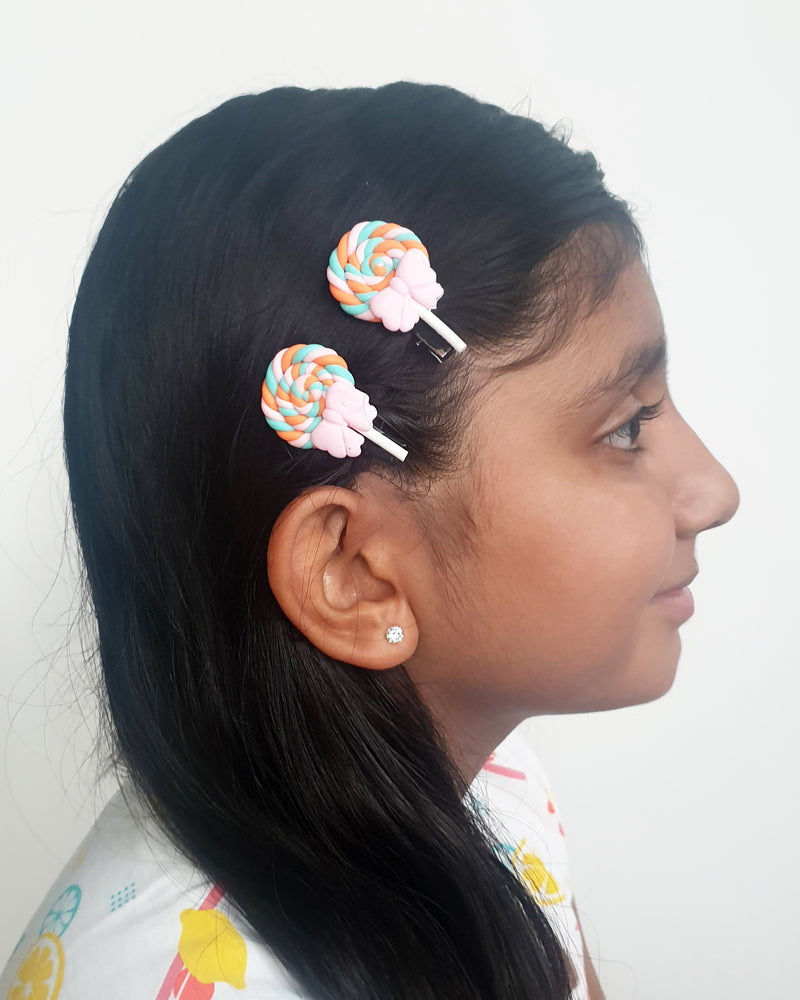 Swirl Lolly Pink Hair Clip x2 - Roses & Rhinos