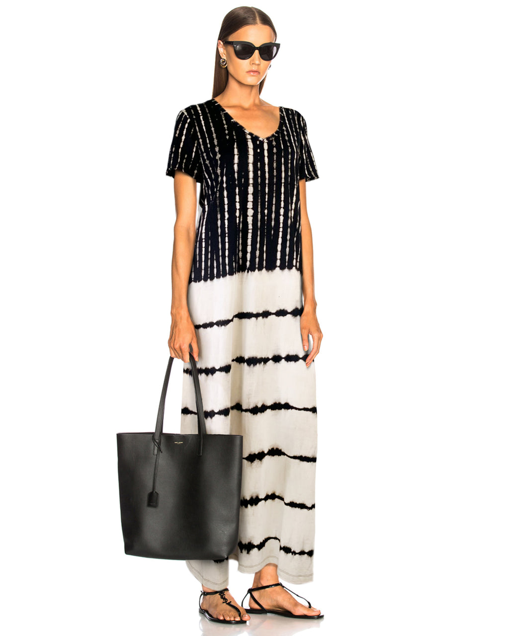 Women T-Shirt Stripe Maxi Dress - Roses & Rhinos