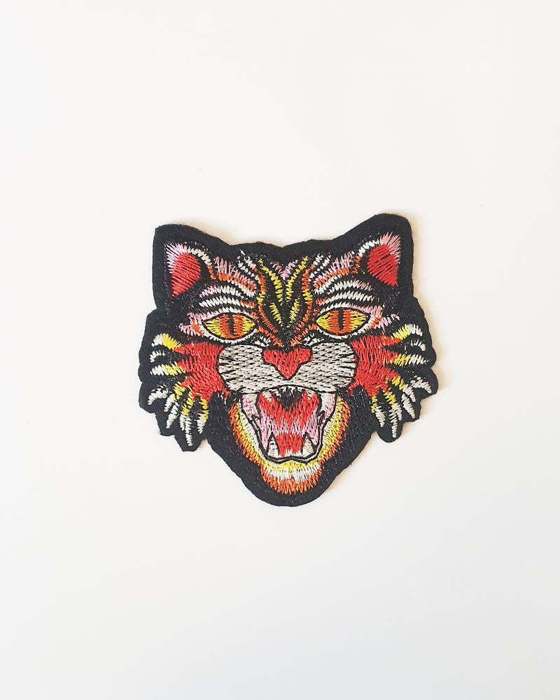 Tiger Iron On Patch - Roses & Rhinos