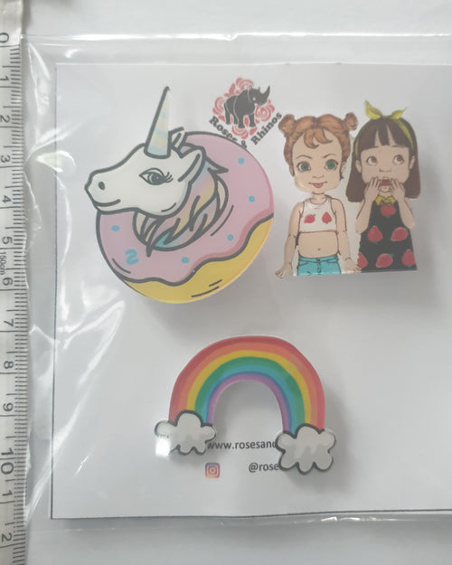 Unicorn Rainbow x 3 Pin - Roses & Rhinos