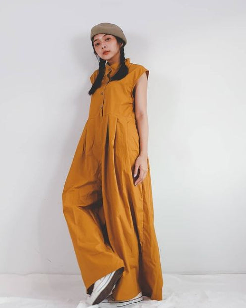 Women Wide Leg Ochre Jumpsuit