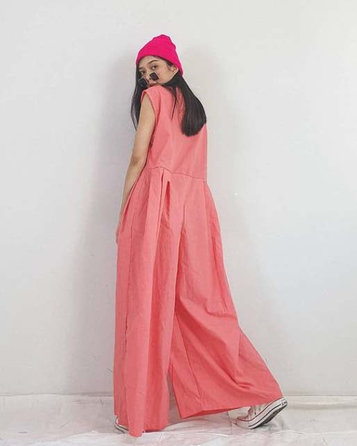Women Wide Leg Pink Jumpsuit