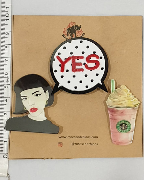Yes Starbucks x 3 Pin