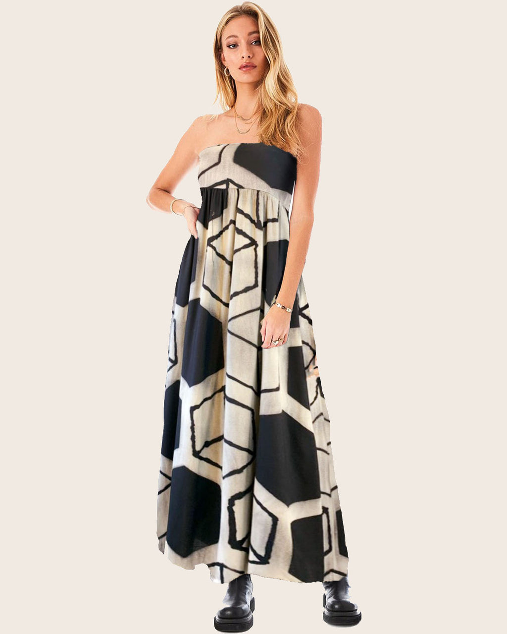 Women Bandeau Geo Dress - Roses & Rhinos