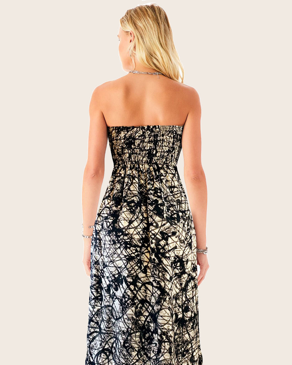 Women Bandeau Paint Splash Dress - Roses & Rhinos