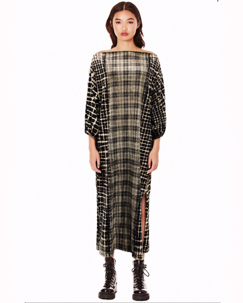 Womens's Check Mix Dress - Roses & Rhinos