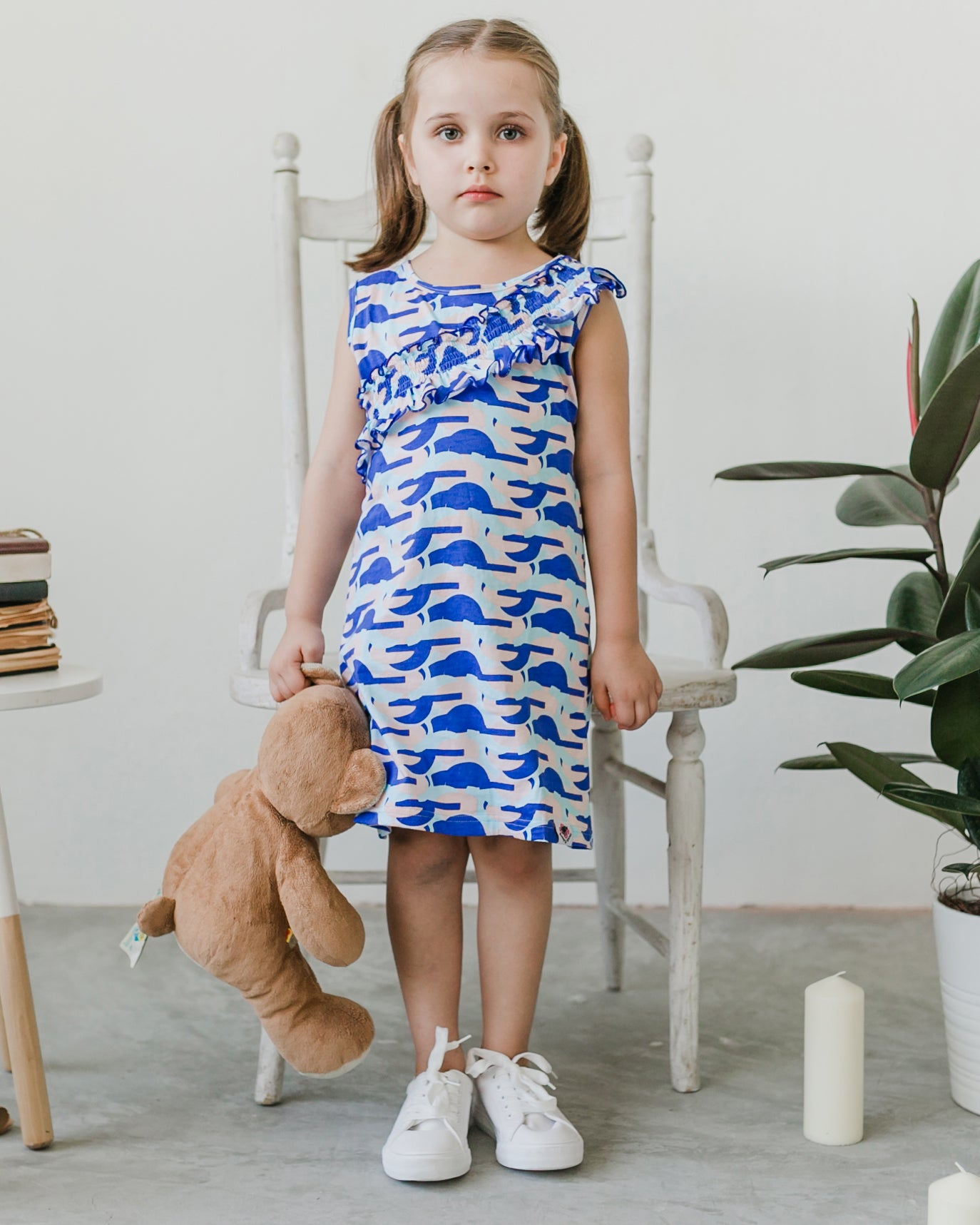 Geo Ruffle Dress - Roses & Rhinos