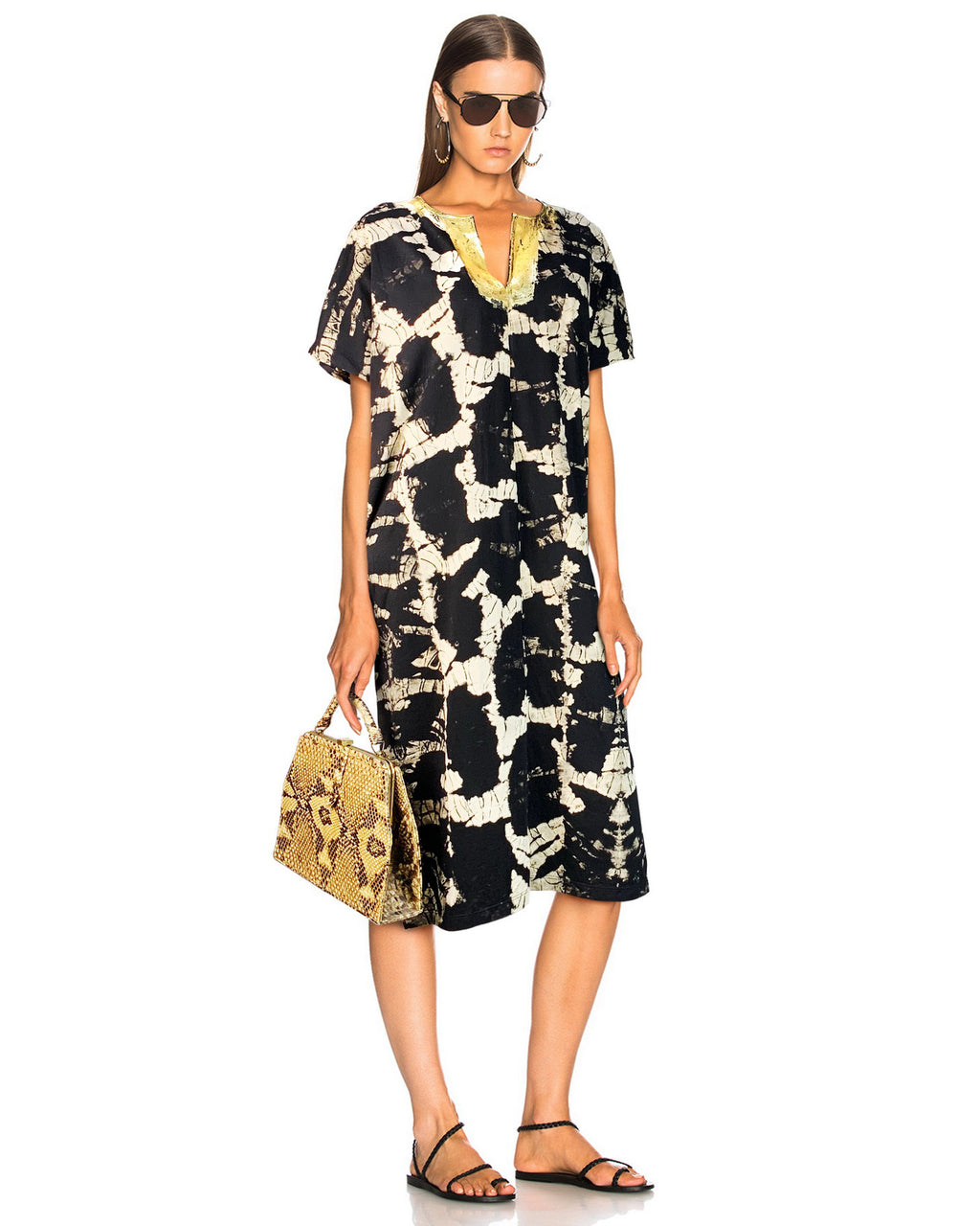 Women Gold Neck Kaftan - Roses & Rhinos
