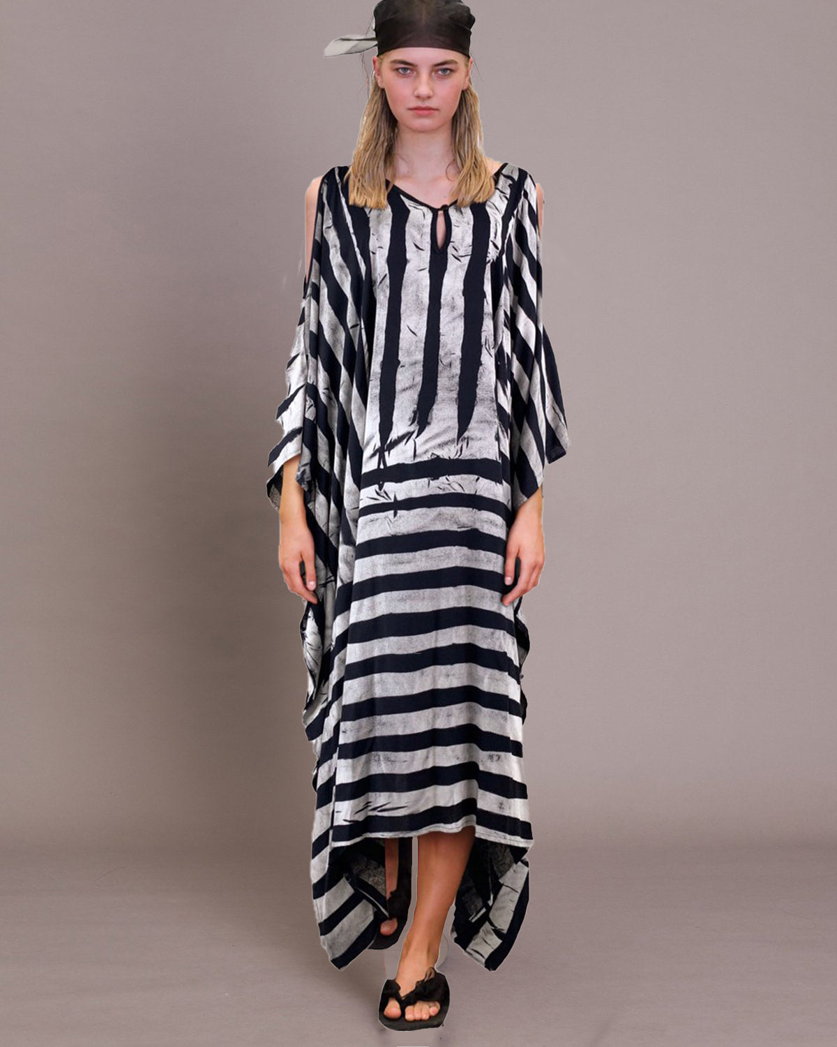 Women Shoulder Grey Stripe Kaftan