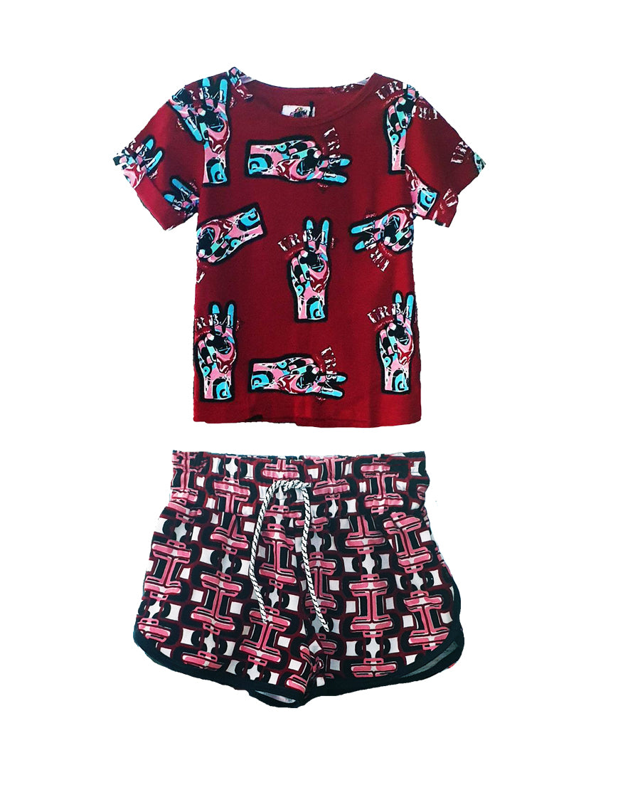 Hand T-shirt and  Elliot Links Track Shorts Set - Roses & Rhinos