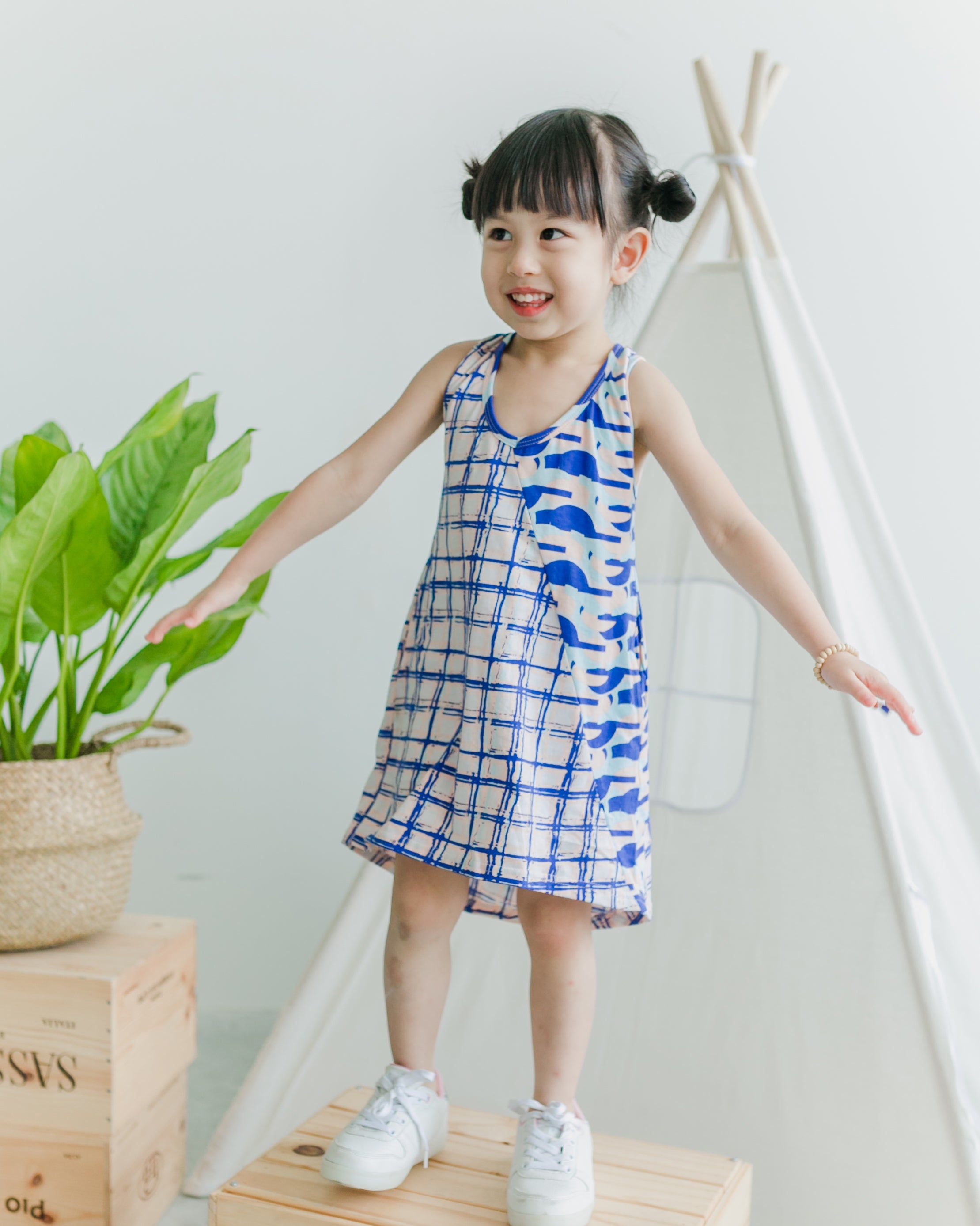 Check Geo Vest Dress - Roses & Rhinos