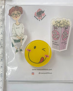 Popcorn Smiley x 3 Pin - Roses & Rhinos