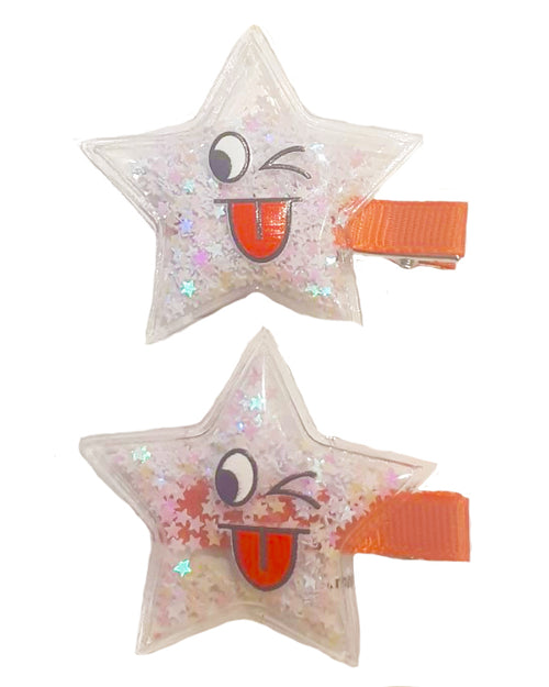 Smiley Star Sparkle Hair Clip x2 - Roses & Rhinos