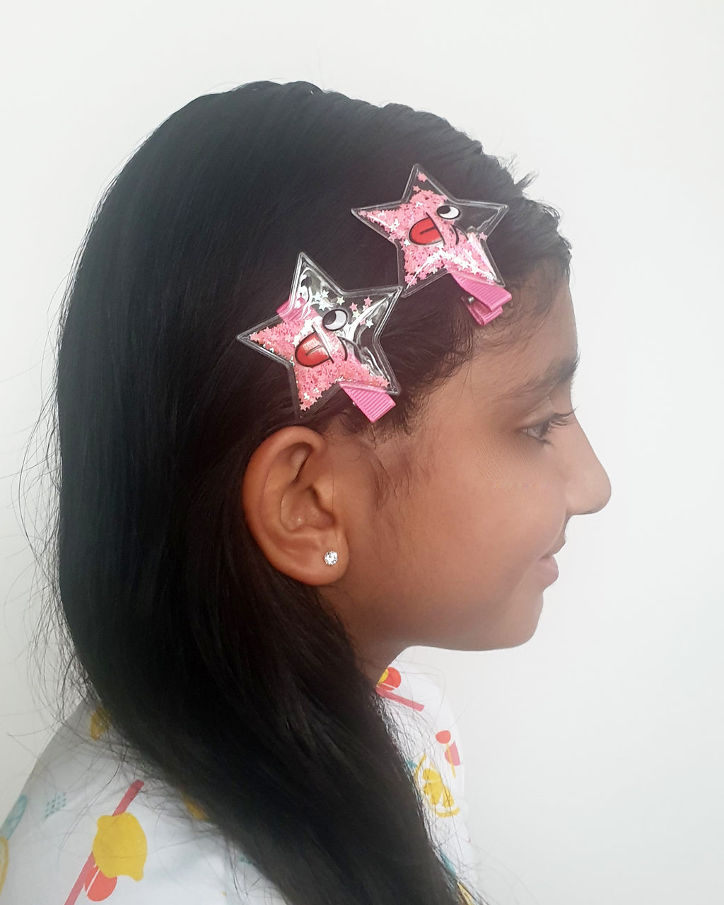 Smiley Star Pink Sparkle Hair Clip x2 - Roses & Rhinos